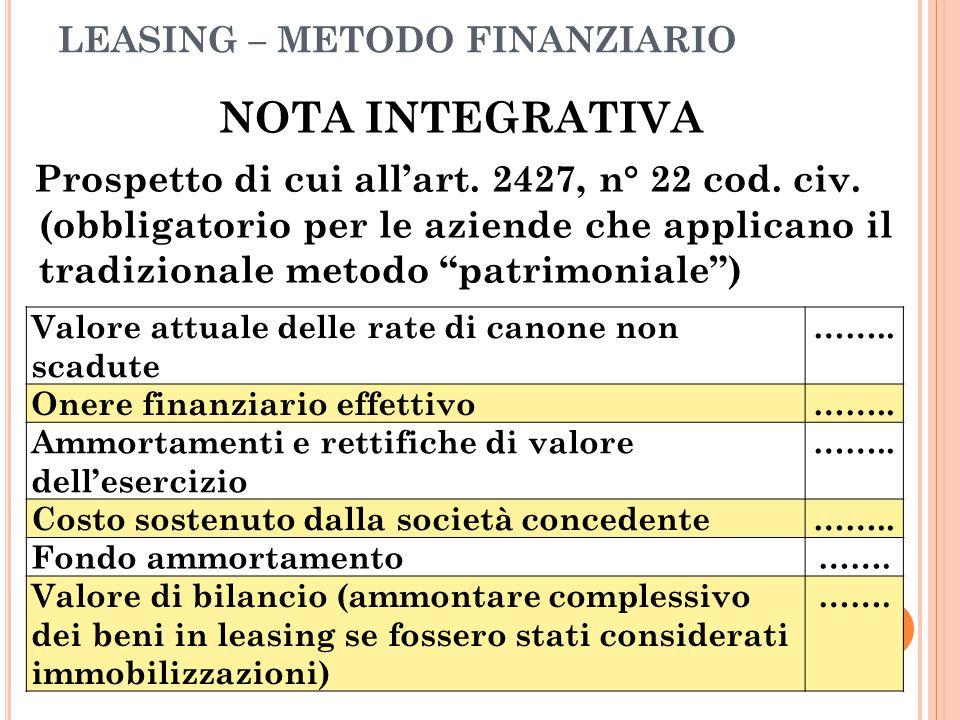 LEASING – METODO FINANZIARIO NOTA INTEGRATIVA Prospetto di cui all'art. 2427, n° 22 cod. civ. (obbligatorio per le aziende che applicano il tradiziona