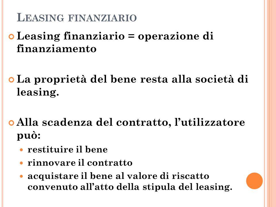 L EASING FINANZIARIO Leasing finanziario = operazione di finanziamento La proprietà del bene resta alla società di leasing. Alla scadenza del contratt