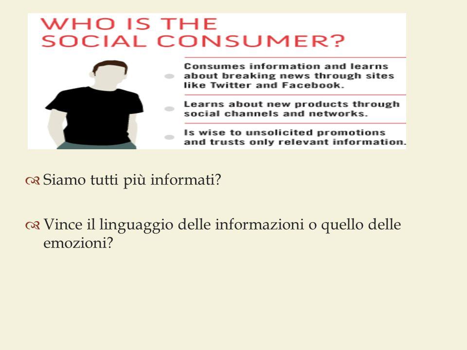  Siamo tutti più informati?  Vince il linguaggio delle informazioni o quello delle emozioni?