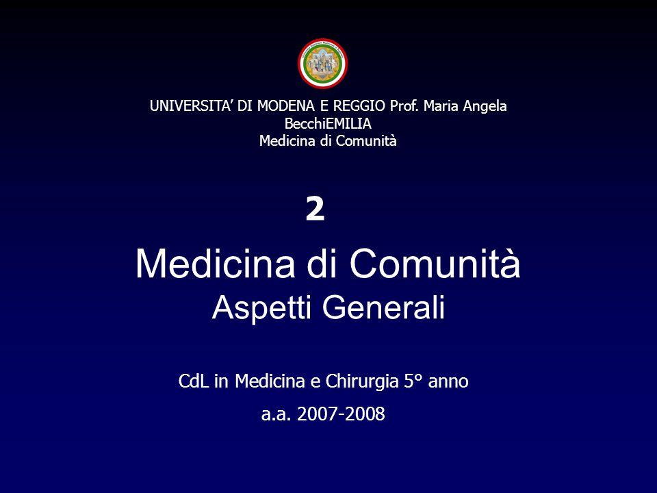 UNIVERSITA' DI MODENA E REGGIO Prof. Maria Angela BecchiEMILIA Medicina di Comunità Medicina di Comunità Aspetti Generali CdL in Medicina e Chirurgia