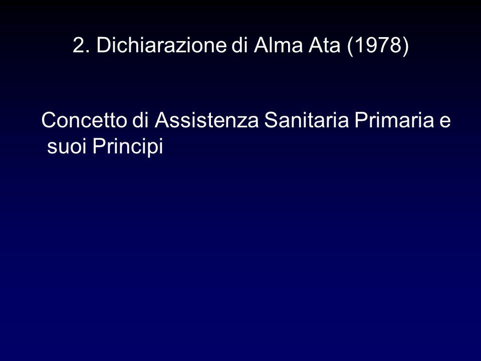 2. Dichiarazione di Alma Ata (1978) Concetto di Assistenza Sanitaria Primaria e suoi Principi