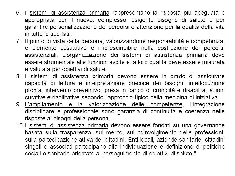 6.I sistemi di assistenza primaria rappresentano la risposta più adeguata e appropriata per il nuovo, complesso, esigente bisogno di salute e per gara