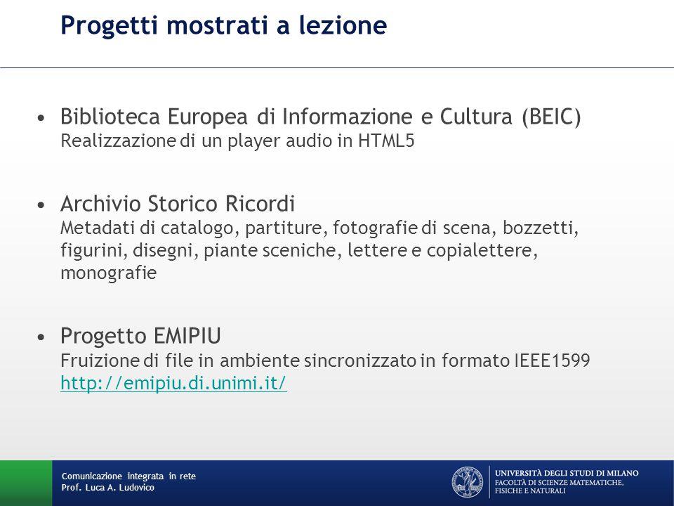 Comunicazione integrata in rete Prof. Luca A. Ludovico Progetti mostrati a lezione Biblioteca Europea di Informazione e Cultura (BEIC) Realizzazione d