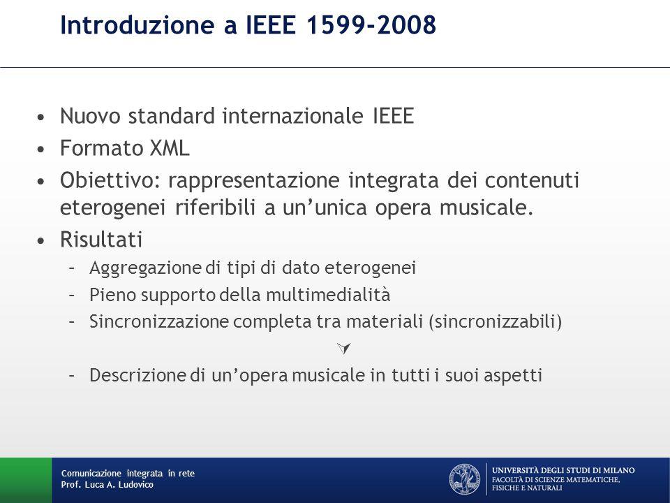 Introduzione a IEEE 1599-2008 Nuovo standard internazionale IEEE Formato XML Obiettivo: rappresentazione integrata dei contenuti eterogenei riferibili a un'unica opera musicale.