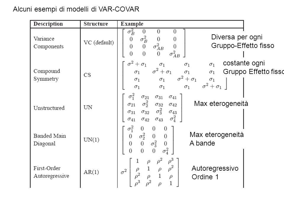 Alcuni esempi di modelli di VAR-COVAR Diversa per ogni Gruppo-Effetto fisso costante ogni Gruppo Effetto fisso Max eterogeneità A bande Autoregressivo Ordine 1