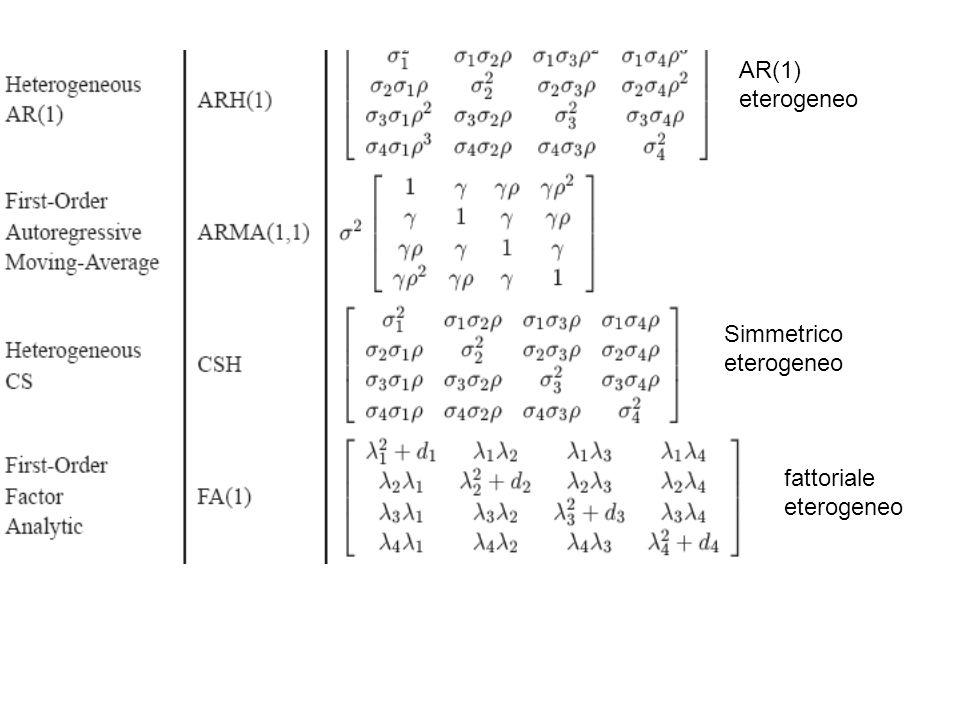 AR(1) eterogeneo Simmetrico eterogeneo fattoriale eterogeneo
