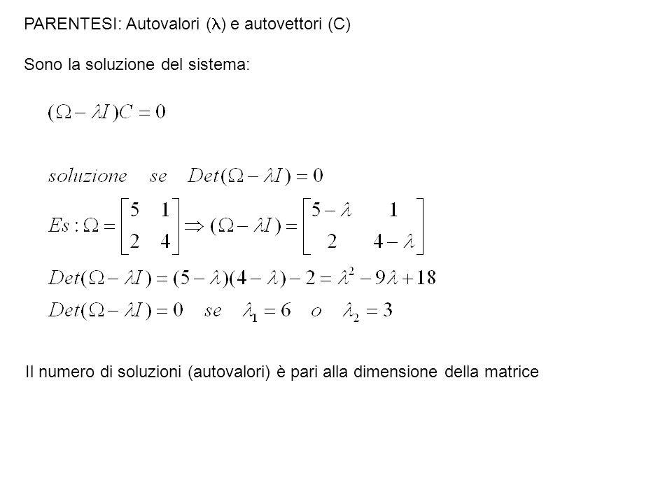 PARENTESI: Autovalori ( ) e autovettori (C) Sono la soluzione del sistema: Il numero di soluzioni (autovalori) è pari alla dimensione della matrice