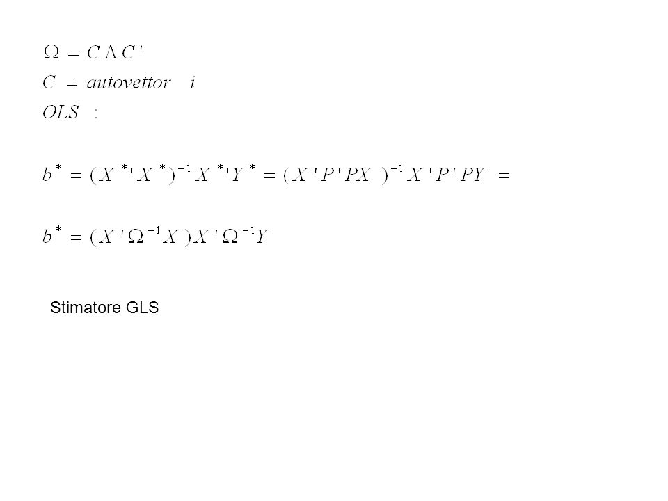 Un esempio numerico OLS: yxx 20110111 30101005 4015 OLS X X(X X)-1X YB 3150,83-0,109035 15125-0,100,02400