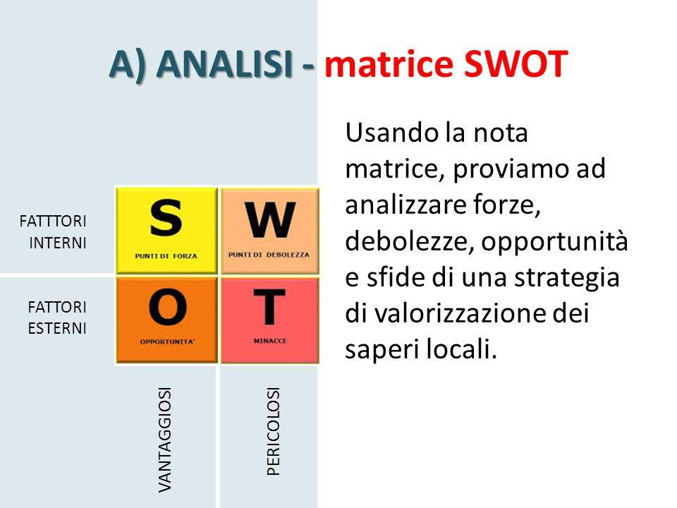 A) ANALISI - A) ANALISI - matrice SWOT Usando la nota matrice, proviamo ad analizzare forze, debolezze, opportunità e sfide di una strategia di valorizzazione dei saperi locali.