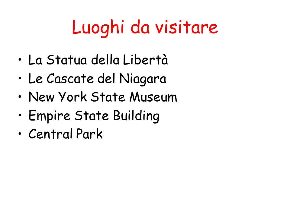 Luoghi da visitare La Statua della Libertà Le Cascate del Niagara New York State Museum Empire State Building Central Park