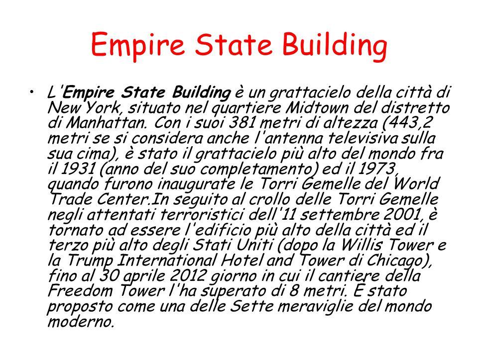 Empire State Building L'Empire State Building è un grattacielo della città di New York, situato nel quartiere Midtown del distretto di Manhattan. Con