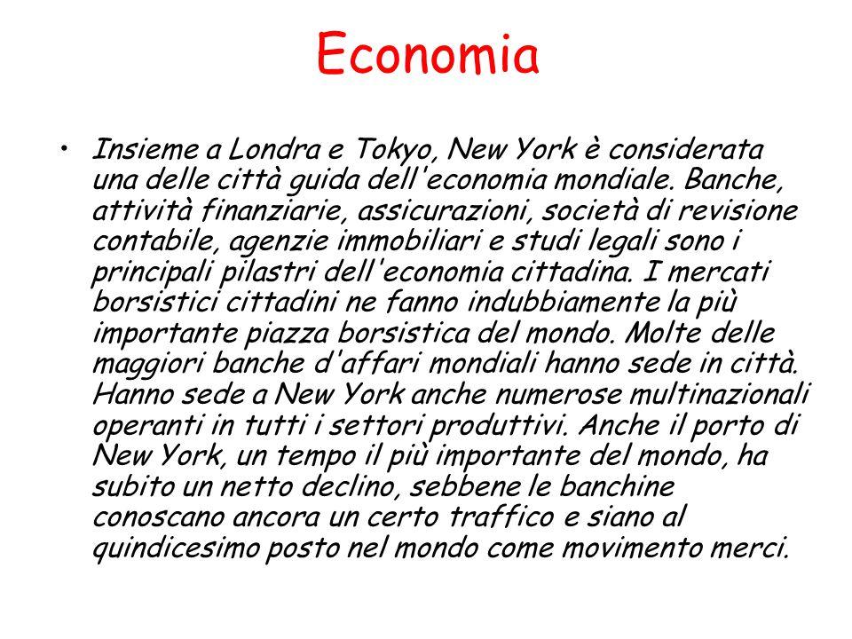 Economia Insieme a Londra e Tokyo, New York è considerata una delle città guida dell'economia mondiale. Banche, attività finanziarie, assicurazioni, s