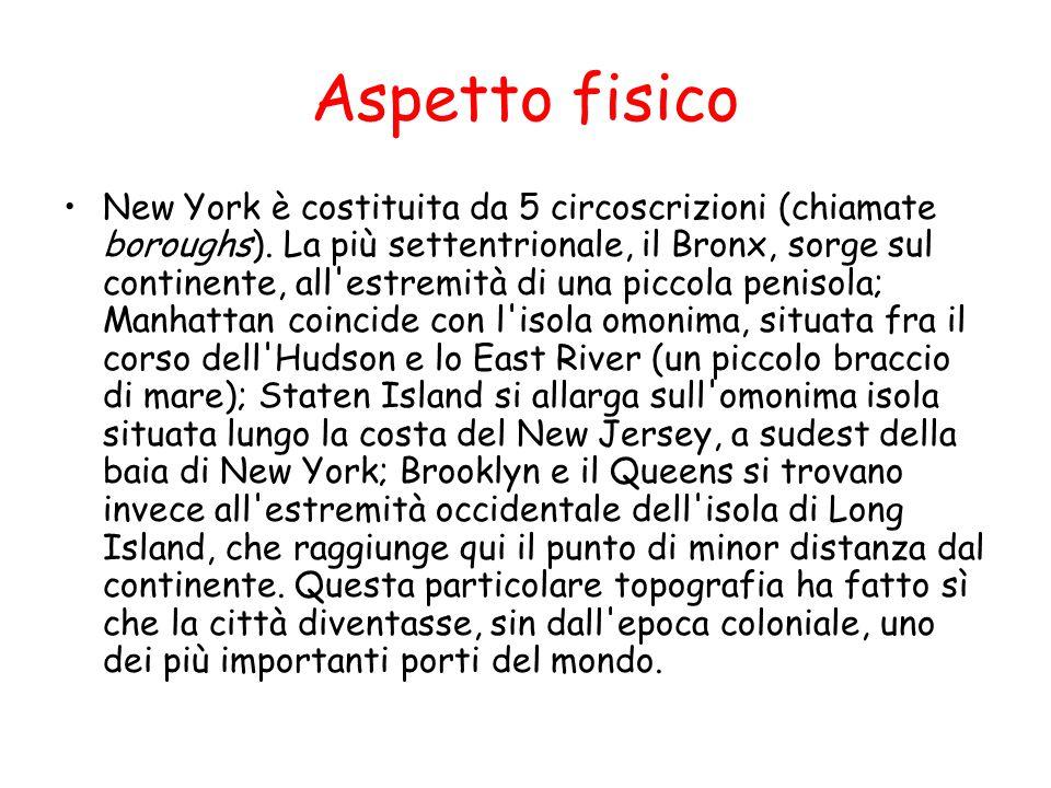 Aspetto fisico New York è costituita da 5 circoscrizioni (chiamate boroughs). La più settentrionale, il Bronx, sorge sul continente, all'estremità di