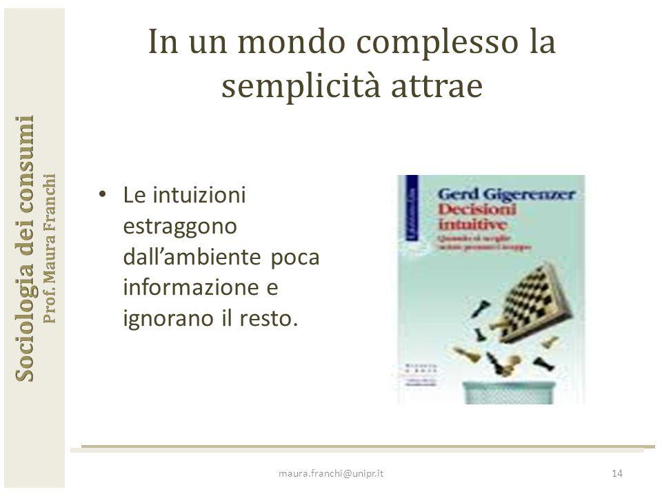 In un mondo complesso la semplicità attrae Le intuizioni estraggono dall'ambiente poca informazione e ignorano il resto.