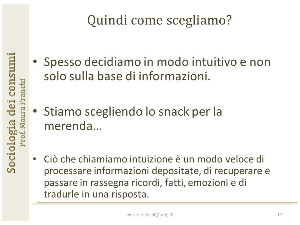 Spesso decidiamo in modo intuitivo e non solo sulla base di informazioni.