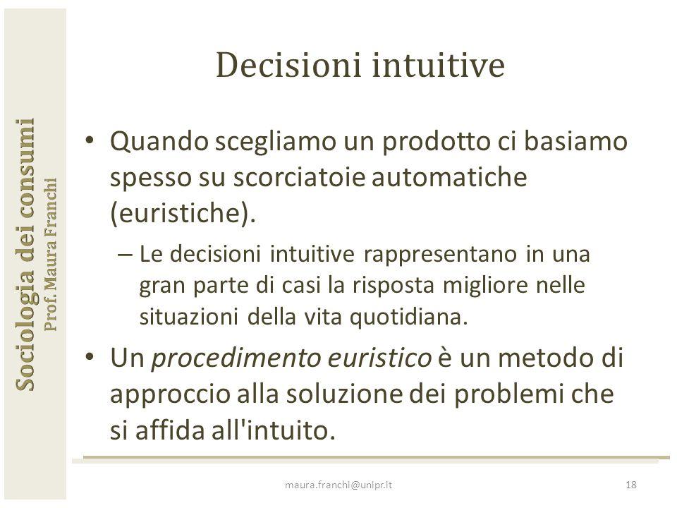 Quando scegliamo un prodotto ci basiamo spesso su scorciatoie automatiche (euristiche).
