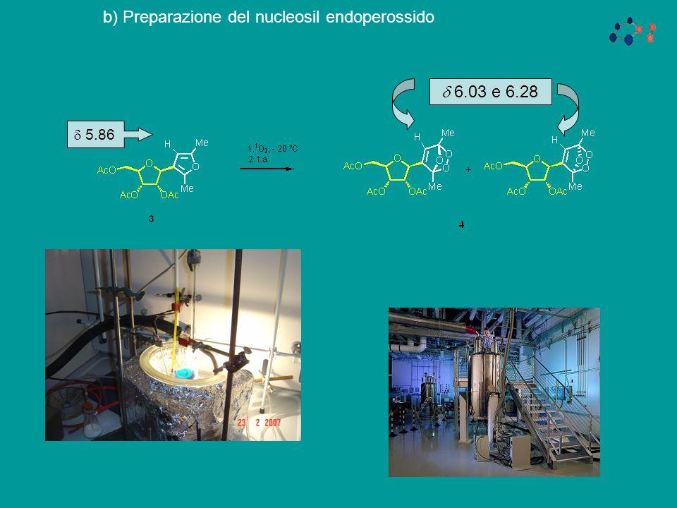 b) Preparazione del nucleosil endoperossido  5.86  6.03 e 6.28