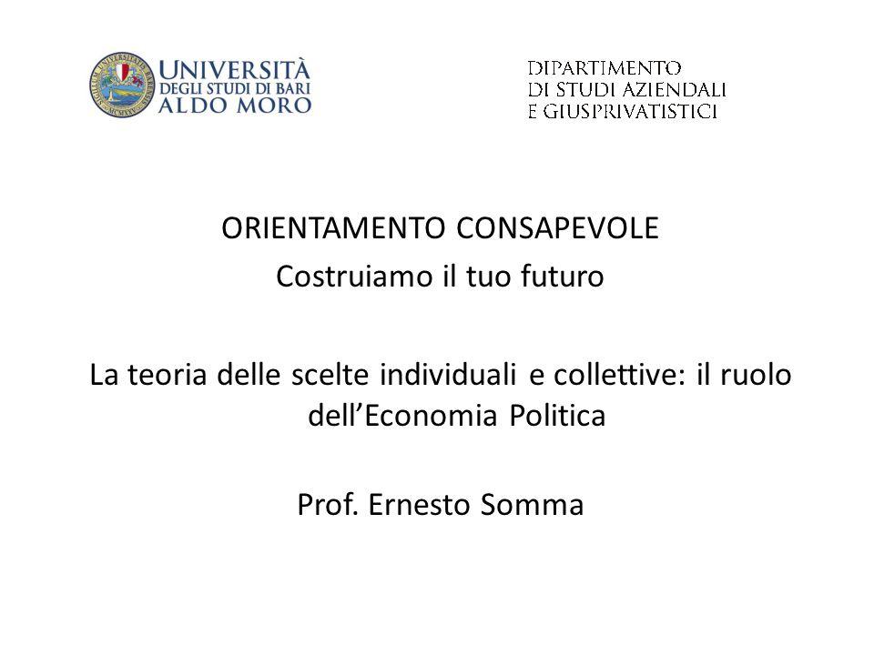 ORIENTAMENTO CONSAPEVOLE Costruiamo il tuo futuro La teoria delle scelte individuali e collettive: il ruolo dell'Economia Politica Prof. Ernesto Somma