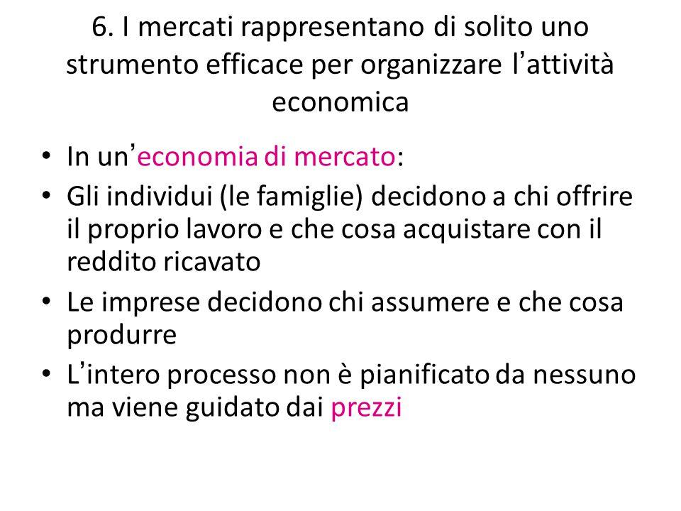 6. I mercati rappresentano di solito uno strumento efficace per organizzare l ' attività economica In un ' economia di mercato: Gli individui (le fami