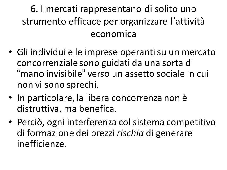 6. I mercati rappresentano di solito uno strumento efficace per organizzare l ' attività economica Gli individui e le imprese operanti su un mercato c