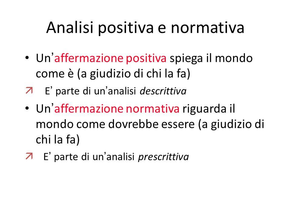 Analisi positiva e normativa Un ' affermazione positiva spiega il mondo come è (a giudizio di chi la fa)  E ' parte di un ' analisi descrittiva Un '