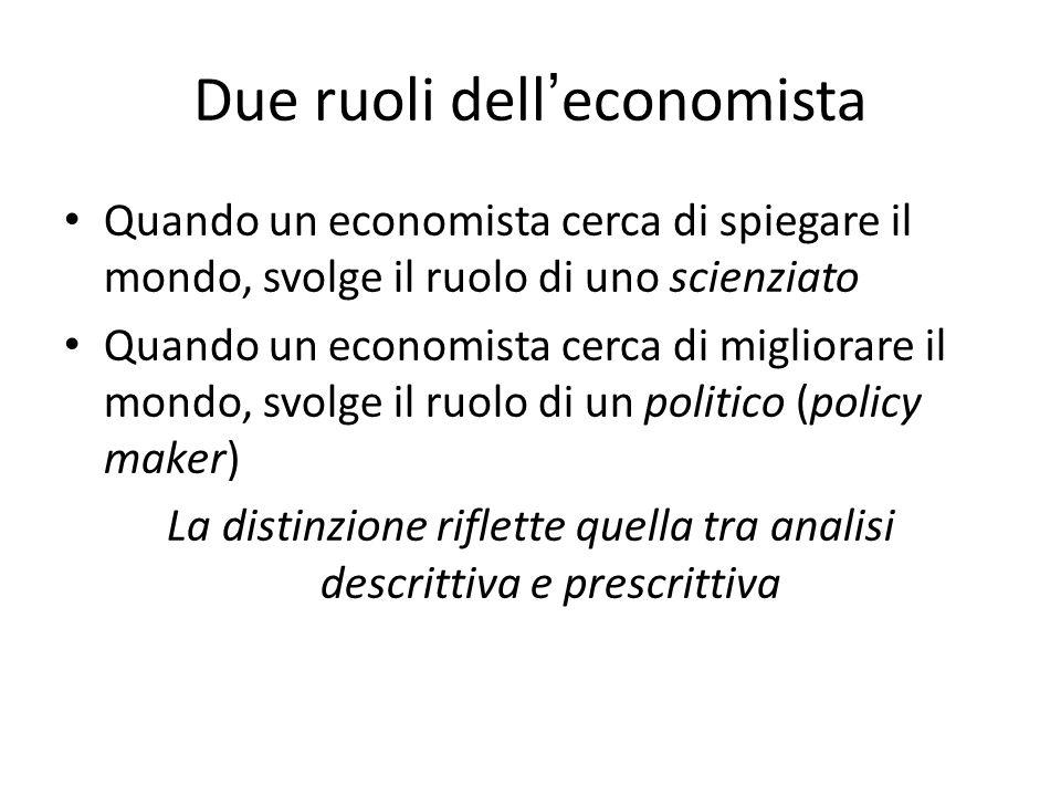 Due ruoli dell ' economista Quando un economista cerca di spiegare il mondo, svolge il ruolo di uno scienziato Quando un economista cerca di migliorar
