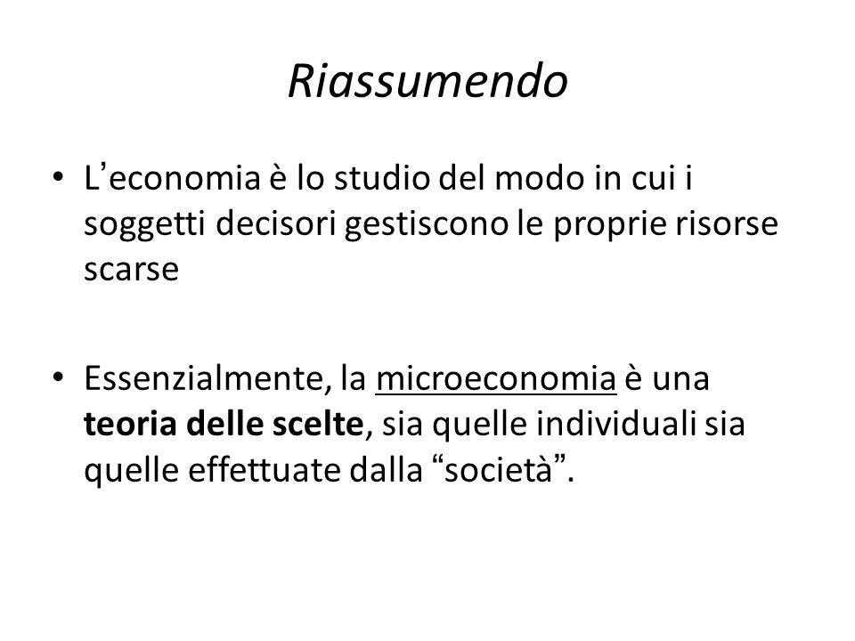 Riassumendo L ' economia è lo studio del modo in cui i soggetti decisori gestiscono le proprie risorse scarse Essenzialmente, la microeconomia è una t