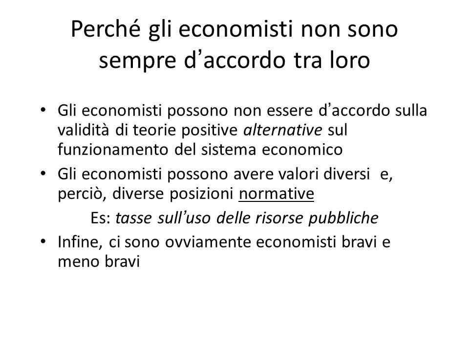 Perché gli economisti non sono sempre d ' accordo tra loro Gli economisti possono non essere d ' accordo sulla validità di teorie positive alternative