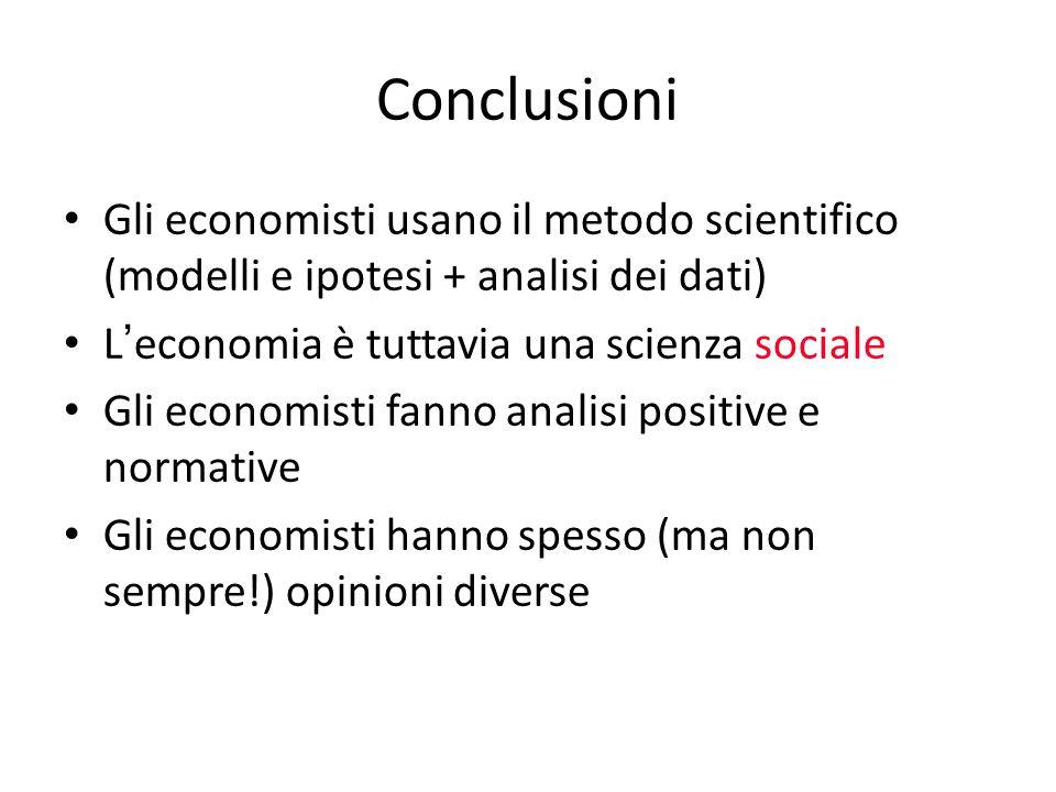 Conclusioni Gli economisti usano il metodo scientifico (modelli e ipotesi + analisi dei dati) L ' economia è tuttavia una scienza sociale Gli economis