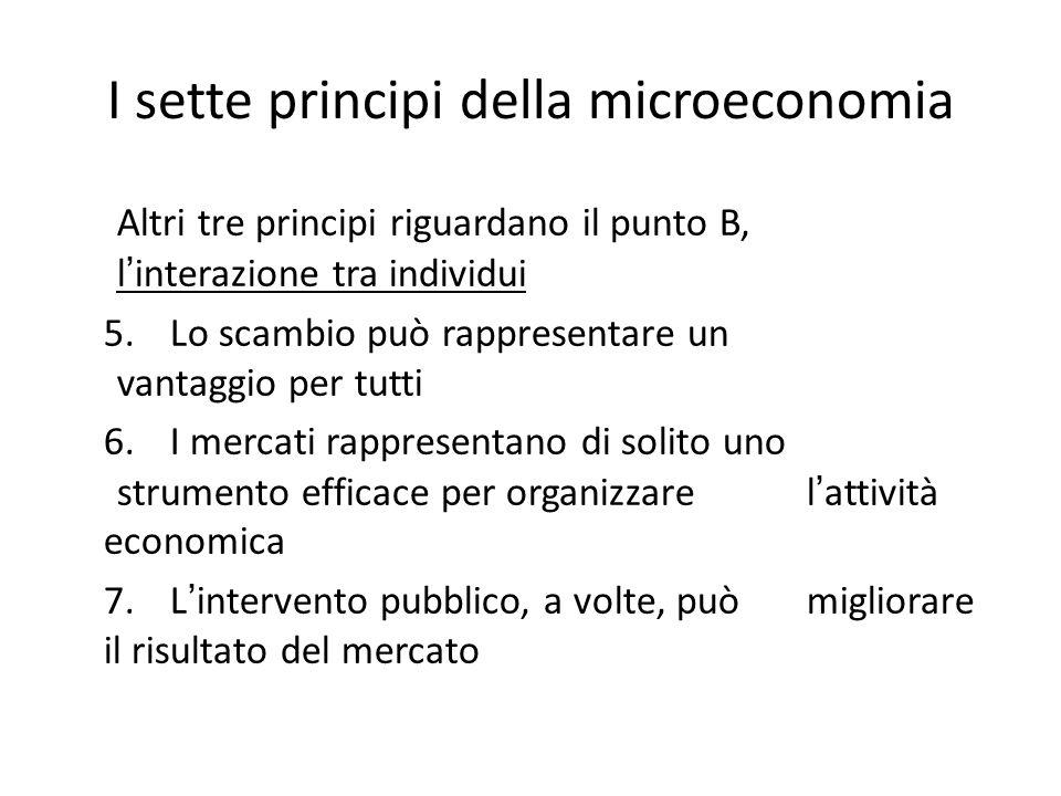 I sette principi della microeconomia Altri tre principi riguardano il punto B, l ' interazione tra individui 5. Lo scambio può rappresentare un vantag