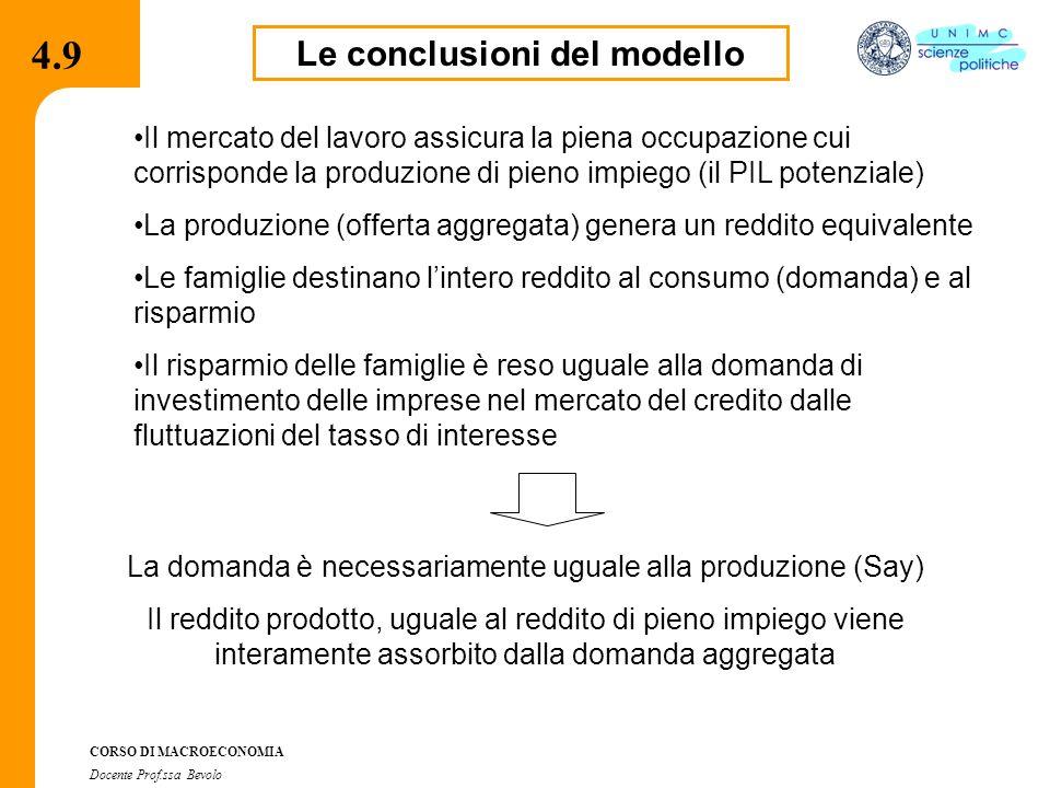 4.2.2 CORSO DI MACROECONOMIA Docente Prof.ssa Bevolo Le conclusioni del modello Il mercato del lavoro assicura la piena occupazione cui corrisponde la