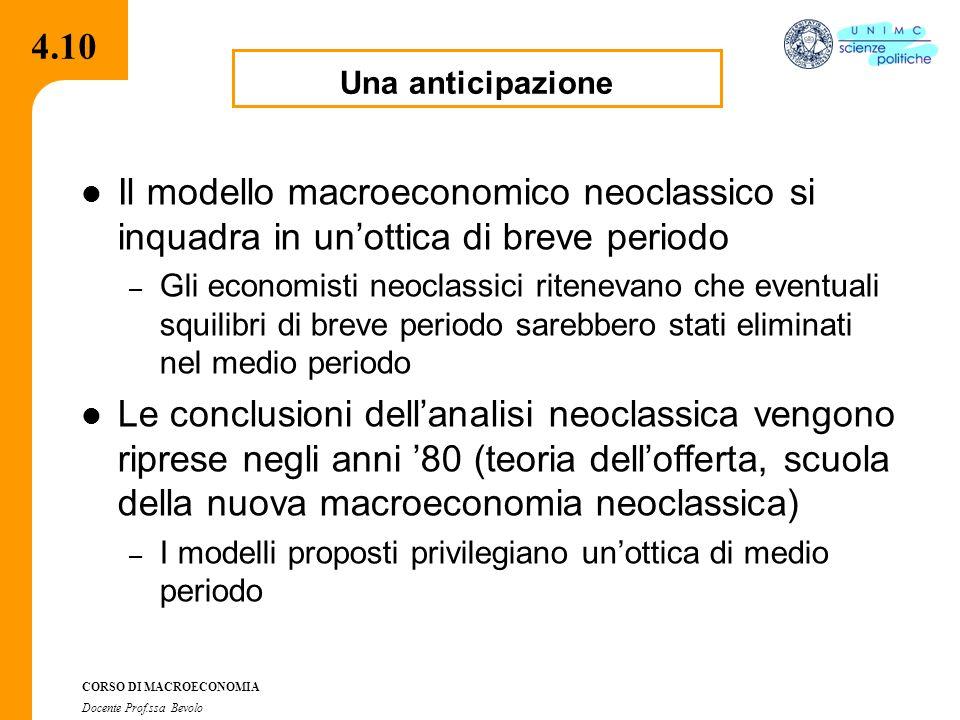 4.2.2 CORSO DI MACROECONOMIA Docente Prof.ssa Bevolo 4.10 Il modello macroeconomico neoclassico si inquadra in un'ottica di breve periodo – Gli economisti neoclassici ritenevano che eventuali squilibri di breve periodo sarebbero stati eliminati nel medio periodo Le conclusioni dell'analisi neoclassica vengono riprese negli anni '80 (teoria dell'offerta, scuola della nuova macroeconomia neoclassica) – I modelli proposti privilegiano un'ottica di medio periodo Una anticipazione