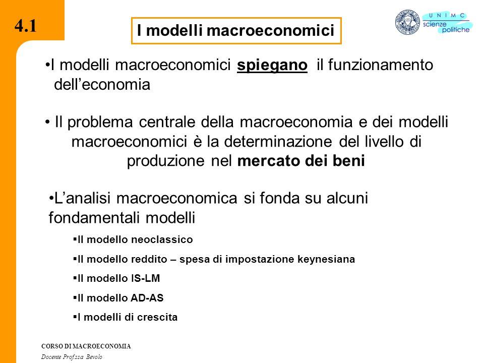 4.2.2 CORSO DI MACROECONOMIA Docente Prof.ssa Bevolo 4.1 I modelli macroeconomici Il problema centrale della macroeconomia e dei modelli macroeconomici è la determinazione del livello di produzione nel mercato dei beni I modelli macroeconomici spiegano il funzionamento dell'economia L'analisi macroeconomica si fonda su alcuni fondamentali modelli  Il modello neoclassico  Il modello reddito – spesa di impostazione keynesiana  Il modello IS-LM  Il modello AD-AS  I modelli di crescita