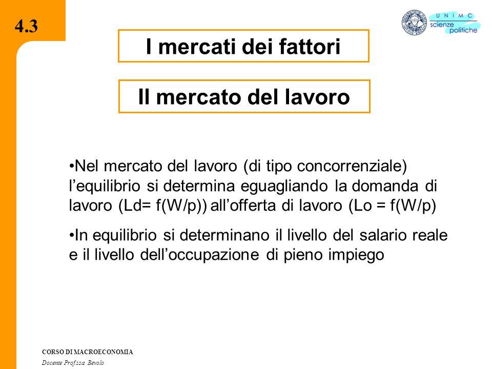 4.2.2 CORSO DI MACROECONOMIA Docente Prof.ssa Bevolo I mercati dei fattori Nel mercato del lavoro (di tipo concorrenziale) l'equilibrio si determina eguagliando la domanda di lavoro (Ld= f(W/p)) all'offerta di lavoro (Lo = f(W/p) In equilibrio si determinano il livello del salario reale e il livello dell'occupazione di pieno impiego 4.3 Il mercato del lavoro