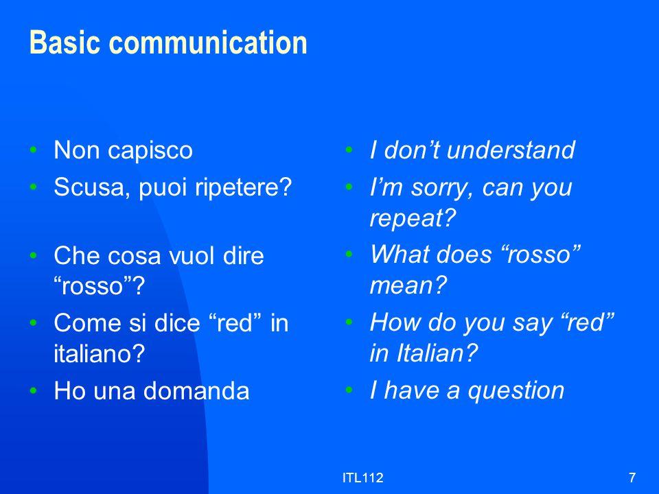 ITL1127 Basic communication Non capisco Scusa, puoi ripetere.