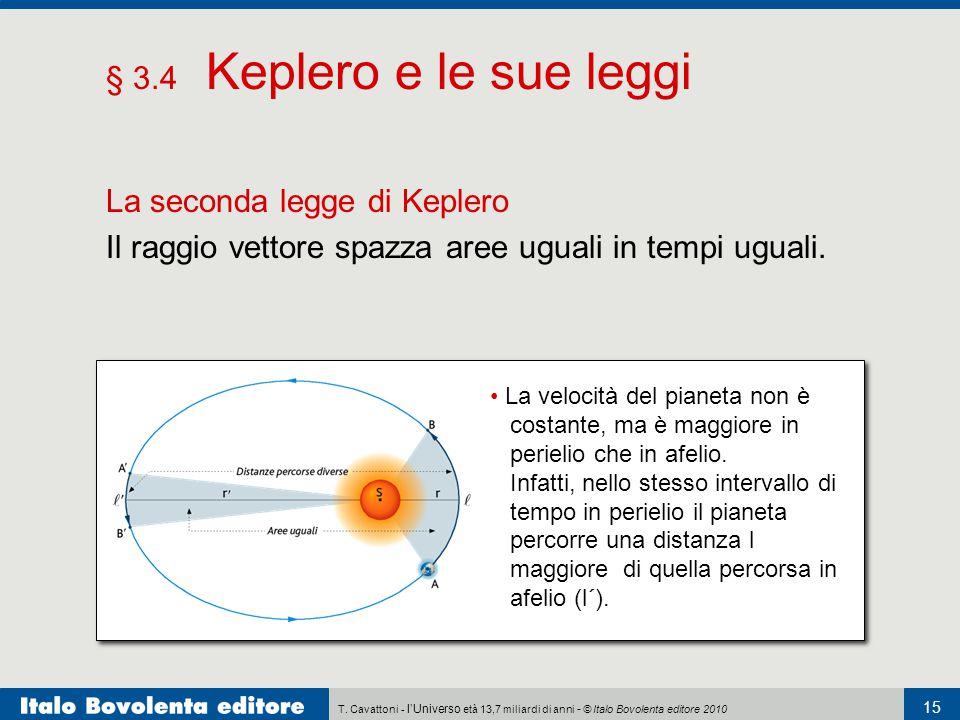 T. Cavattoni - l'Universo età 13,7 miliardi di anni - © Italo Bovolenta editore 2010 15 § 3.4 Keplero e le sue leggi La seconda legge di Keplero Il ra