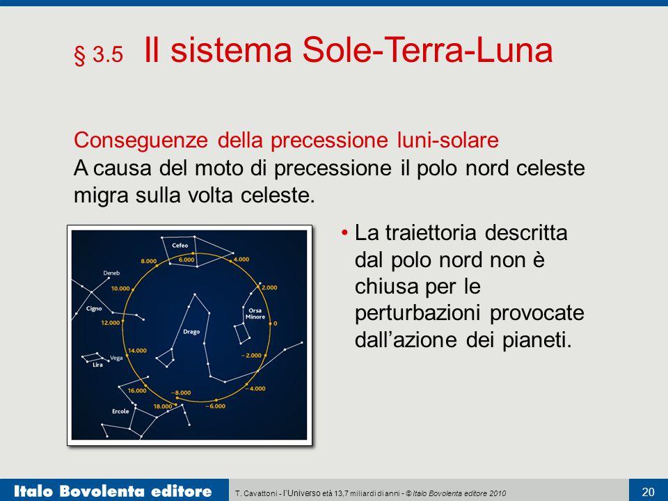 T. Cavattoni - l'Universo età 13,7 miliardi di anni - © Italo Bovolenta editore 2010 20 § 3.5 Il sistema Sole-Terra-Luna Conseguenze della precessione