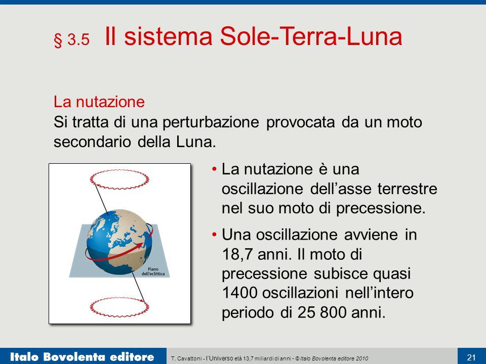 T. Cavattoni - l'Universo età 13,7 miliardi di anni - © Italo Bovolenta editore 2010 21 § 3.5 Il sistema Sole-Terra-Luna La nutazione La nutazione è u
