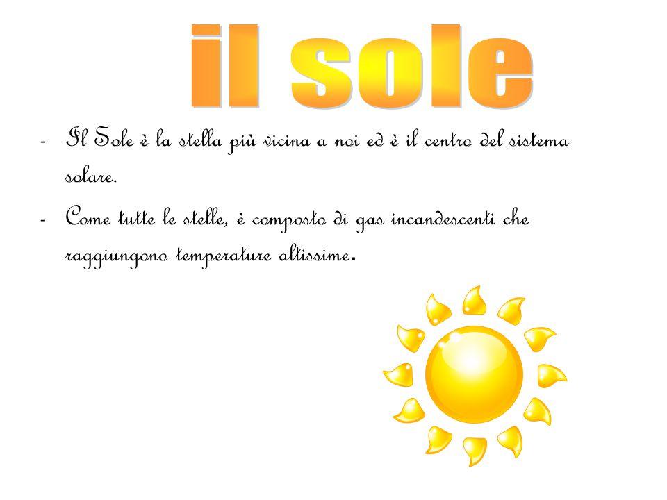 -Il Sole è la stella più vicina a noi ed è il centro del sistema solare.