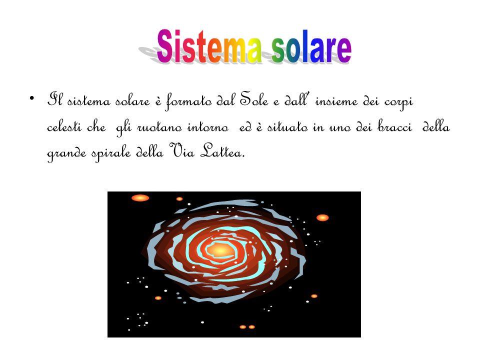 Il sistema solare è formato dal Sole e dall' insieme dei corpi celesti che gli ruotano intorno ed è situato in uno dei bracci della grande spirale della Via Lattea.