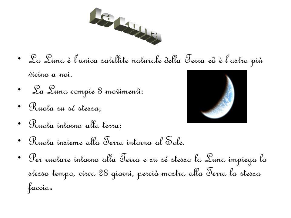 La Luna è l'unica satellite naturale della Terra ed è l'astro più vicino a noi. La Luna compie 3 movimenti: Ruota su sé stessa; Ruota intorno alla ter