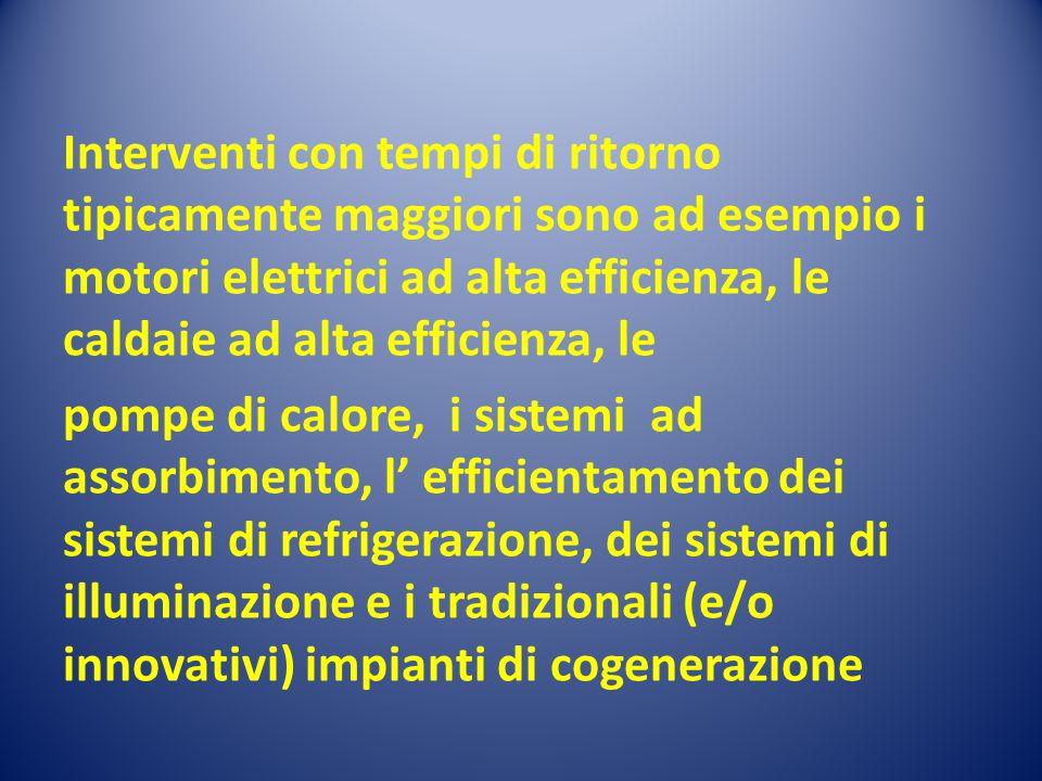 Interventi con tempi di ritorno tipicamente maggiori sono ad esempio i motori elettrici ad alta efficienza, le caldaie ad alta efficienza, le pompe di calore, i sistemi ad assorbimento, l' efficientamento dei sistemi di refrigerazione, dei sistemi di illuminazione e i tradizionali (e/o innovativi) impianti di cogenerazione