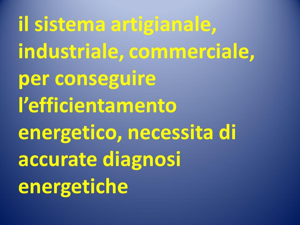 il sistema artigianale, industriale, commerciale, per conseguire l'efficientamento energetico, necessita di accurate diagnosi energetiche