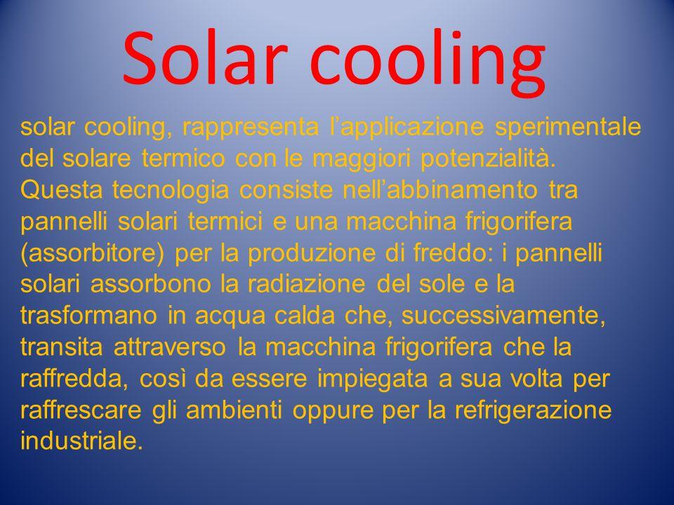 solar cooling, rappresenta l'applicazione sperimentale del solare termico con le maggiori potenzialità. Questa tecnologia consiste nell'abbinamento tr