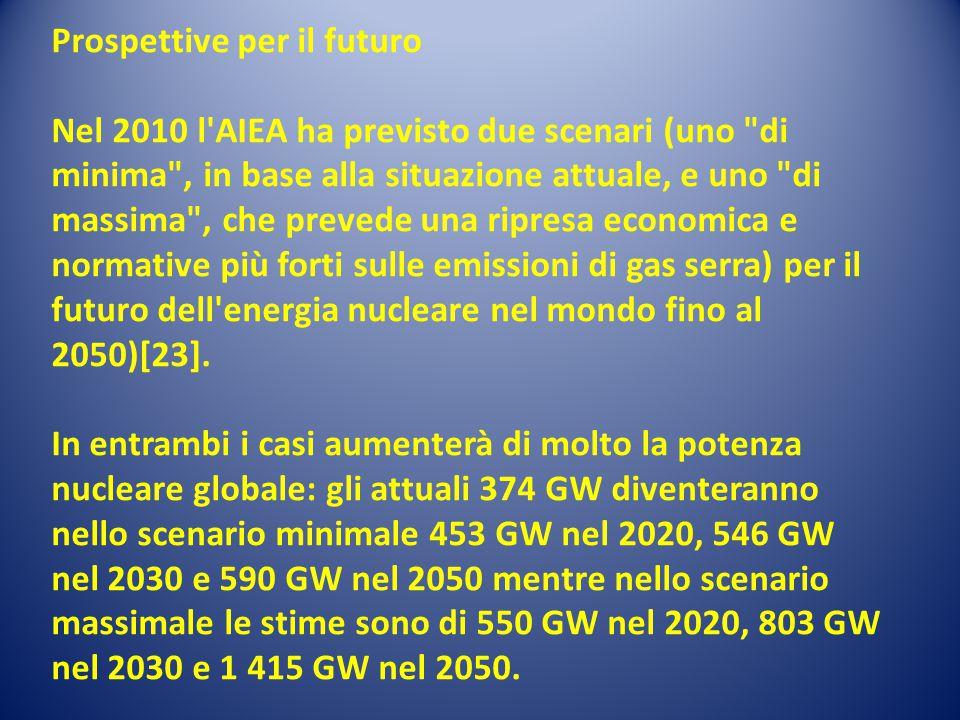 Prospettive per il futuro Nel 2010 l AIEA ha previsto due scenari (uno di minima , in base alla situazione attuale, e uno di massima , che prevede una ripresa economica e normative più forti sulle emissioni di gas serra) per il futuro dell energia nucleare nel mondo fino al 2050)[23].