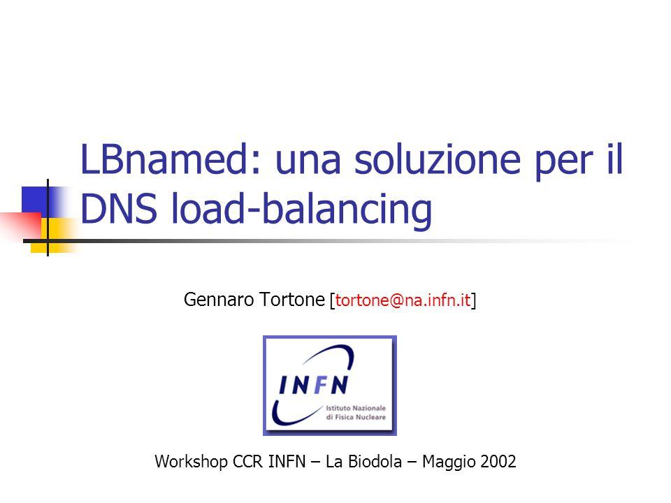 LBnamed: una soluzione per il DNS load-balancing Gennaro Tortone [tortone@na.infn.it] Workshop CCR INFN – La Biodola – Maggio 2002