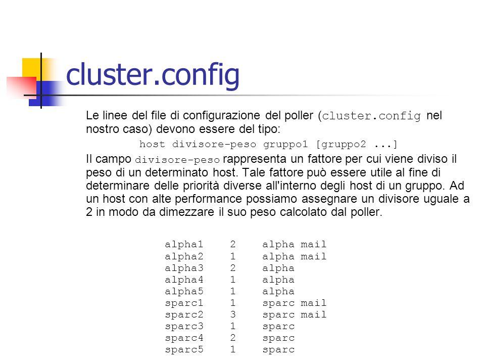 cluster.config Le linee del file di configurazione del poller ( cluster.config nel nostro caso) devono essere del tipo: host divisore-peso gruppo1 [gruppo2...] Il campo divisore-peso rappresenta un fattore per cui viene diviso il peso di un determinato host.