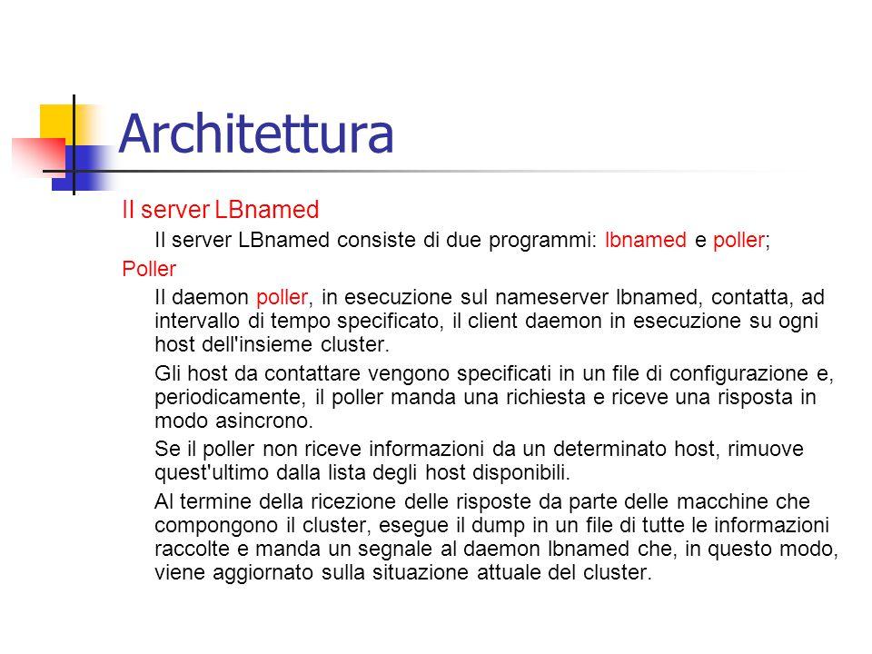 Architettura Il server LBnamed Il server LBnamed consiste di due programmi: lbnamed e poller; Poller Il daemon poller, in esecuzione sul nameserver lbnamed, contatta, ad intervallo di tempo specificato, il client daemon in esecuzione su ogni host dell insieme cluster.