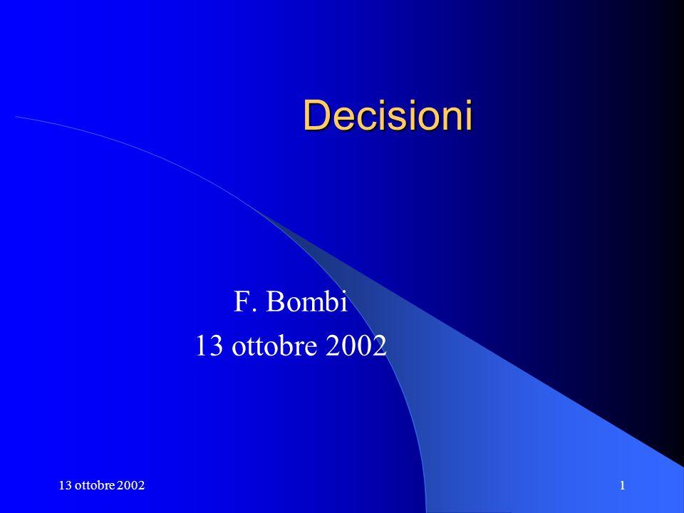 13 ottobre 20021 Decisioni F. Bombi 13 ottobre 2002