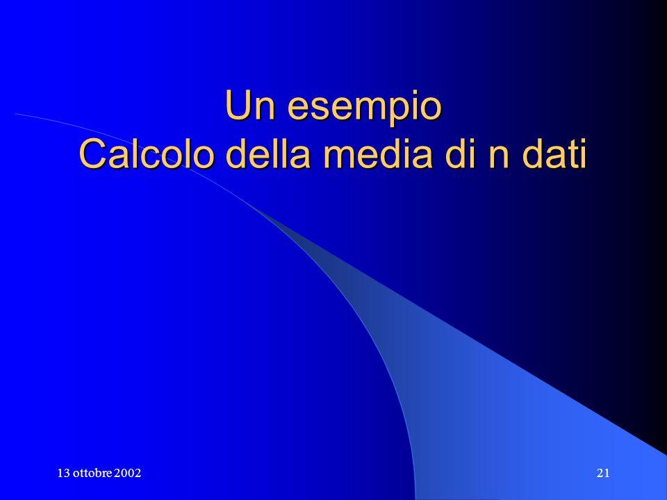 13 ottobre 200221 Un esempio Calcolo della media di n dati